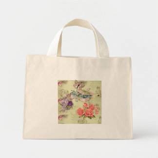 Vintage stock market, flowers, butterflies, roses mini tote bag