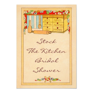 Vintage Stock The Kitchen Spice Box Bridal Shower Card