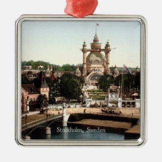 Vintage - Stockholm, Sweden Silver-Colored Square Ornament