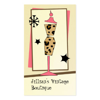 Vintage Store / Boutique - Leopard Pink Dress Form Business Card