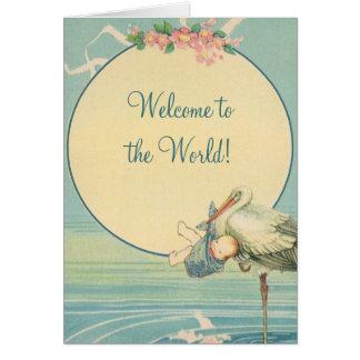 Vintage Stork Baby Boy Blanket, Welcome to World Card