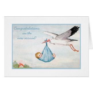 Vintage Stork Baby Congratulations Card