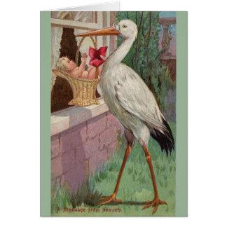 Vintage Stork Baby Delivery Greeting Card