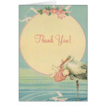 Vintage Stork Baby Girl in Pink Blanket, Thank You Note Card