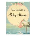 Vintage Stork Baby Girl Pink Blanket Baby Shower