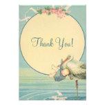 Vintage Stork Blue Boy Baby Shower Thank You
