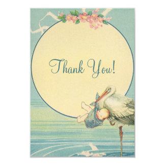 Vintage Stork Blue Boy Baby Shower Thank You Card