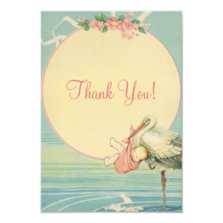 "Vintage Stork Pink Girl Baby Shower Thank You 3.5"" X 5"" Invitation Card"
