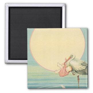Vintage Stork with Baby Girl in Pink Blanket Magnet