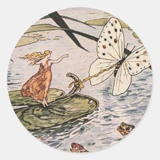 Vintage Storybook Thumbelina Classic Round Sticker