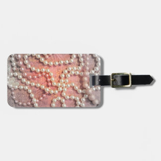 Vintage Strands of Pearls Jeweled Luggage Tag