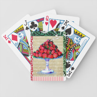 Vintage Strawberries Collage Bicycle Playing Cards