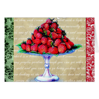 Vintage Strawberries Collage Card