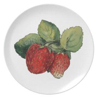 Vintage Strawberries Dinner Plate