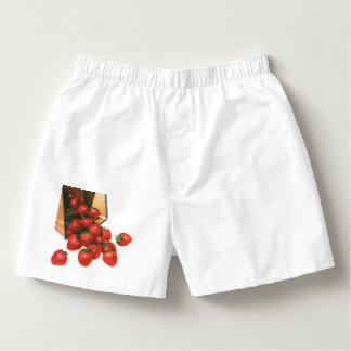 Vintage Strawberries in Basket, Food Fruit Berries Boxers