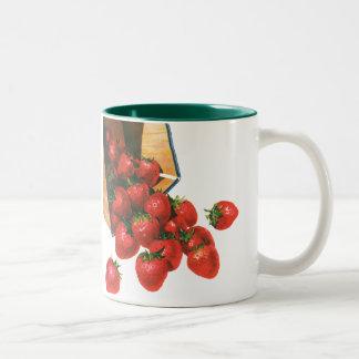 Vintage Strawberries in Basket, Food Fruit Berries Two-Tone Coffee Mug