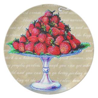 Vintage Strawberries kitchen plate