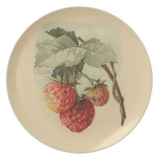Vintage strawberries party plate