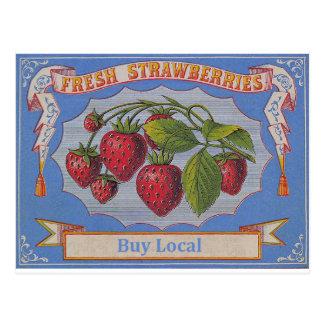 vintage strawberries postcard