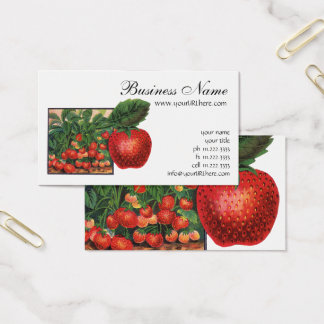 Vintage Strawberries, Strawberry Plants on a Farm Business Card