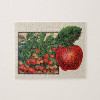 Vintage Strawberries, Strawberry Plants on a Farm Jigsaw Puzzle