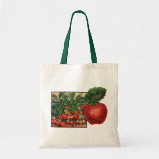 Vintage Strawberries, Strawberry Plants on a Farm Tote Bag