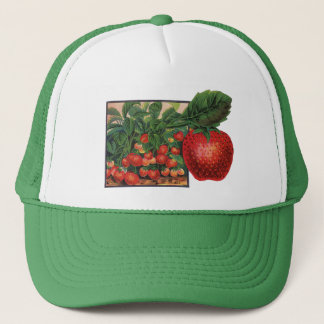 Vintage Strawberries, Strawberry Plants on a Farm Trucker Hat