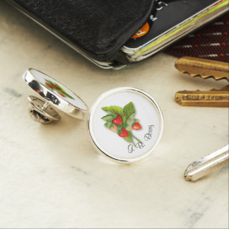 Vintage Strawberries with Your Name Lapel Pin