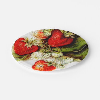 Vintage strawberry 7 inch paper plate