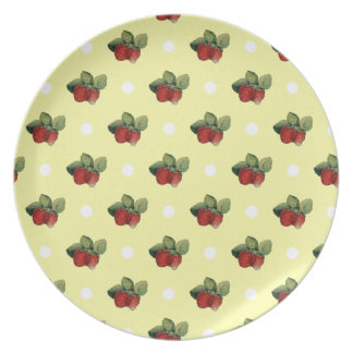 Vintage Strawberry and Polka Dot Pattern Plate