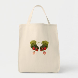 Vintage strawberry butterfly illustration tote bag