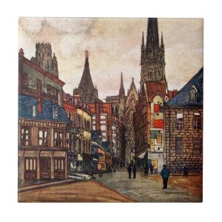 Vintage Street Scene Rouen France Medieval Tile