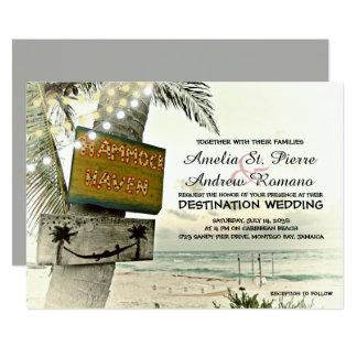 Vintage String Light Destination Beach Wedding Card