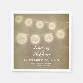 vintage string light lanterns paper napkins