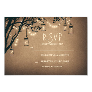 "vintage string lights and mason jars RSVP 3.5"" X 5"" Invitation Card"