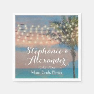 Vintage String Lights Sunset Beach Wedding Paper Napkin