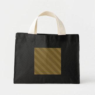 Vintage Stripe Coffee Mocha Grunge Small Black Mini Tote Bag