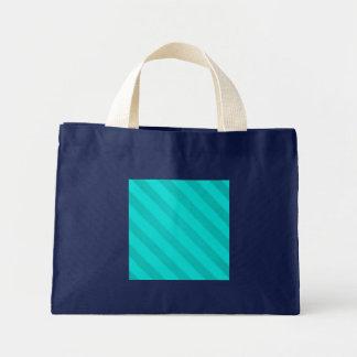 Vintage Stripe Teal Peacock Grunge Small Navy Blue Mini Tote Bag