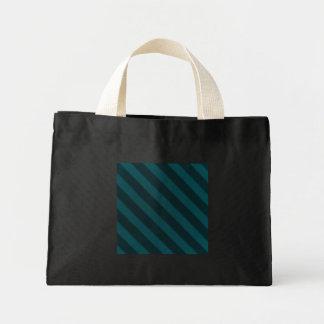 Vintage Stripe Turquoise Grunge Small Black Mini Tote Bag