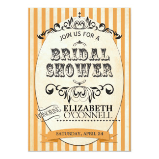 Vintage Striped Bridal Shower Invitation-orange Card