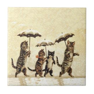 Vintage Striped Cats Umbrellas Dancing Snow Tile