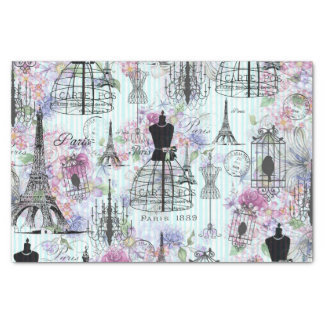 Vintage stripes Eiffel Tower collage pink floral Tissue Paper