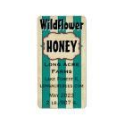 Vintage Stripes Wildflower Customized Honey Jar Label