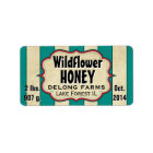 Vintage Stripes Wildflower Honey Jar - Horizontal Label