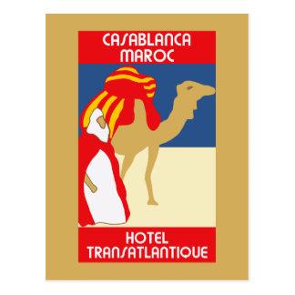 Vintage style 1920s Casablanca travel advertising Postcard