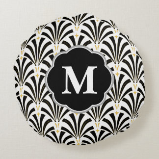 Vintage Style 1920s Fans & Initial Letter Round Pillow