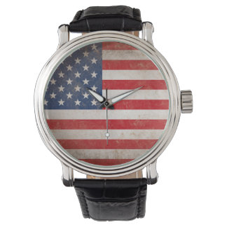 Vintage Style American Flag Patriotic Wristwatches