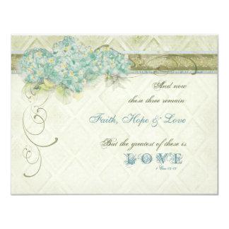 "Vintage Style Aqua Floral Hydrangea Swirl Damask 4.25"" X 5.5"" Invitation Card"