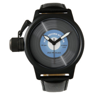 Vintage Style Blue 45 rpm Vinyl Record Watch