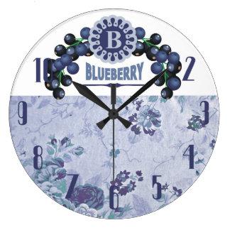 Vintage style blueberries fruit kitchen clock